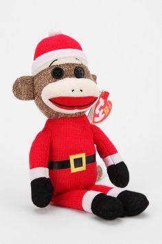 22de80b584f Urban Outfitters - ty beanie babies Santa Sock Monkey ( 12.99 USD) Crochet  Christmas Stocking