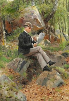by Peder Mork Monsted (Danish 1859-1941)....this immaculate chap looks as if he should be in chic cafe rather than the woods....be smart, no matter what, or where, the occasion....