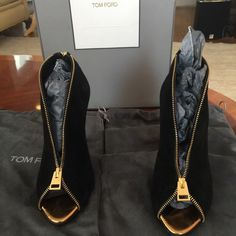 Authentic Tom Ford Booties! In Very Good condition.  Has some wear on the bottom of the soles and a small scuff on side bottom of leather.. Comes with original box and dust covers. Tom Ford Shoes Ankle Boots & Booties