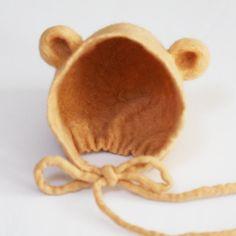 Hand felted Baby Bear Bonnet newborn Hat Photo prop Bear Hat