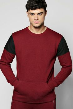Boohoo Colour Block Sweatshirt With Biker Detail Burgundy S TD180 ii 13   fashion  clothing 5a32b8fce