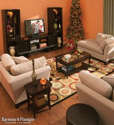 Let this comfy living space inspire your home this winter! Comfortable seating is a must in any home theater. With a pair of chaise lounges, you'll be ready for every holiday movie marathon that comes your way. Condo Living Room, Living Room Modern, Home And Living, Living Room Decor, Living Spaces, Dining Room, Home Command Center, Living Room Orange, Small Master Bedroom