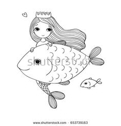 Beautiful little mermaid and fish. Siren. Sea theme. vector illustration on a white background.   Coloring book