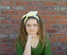 Wired Headband Yellow and Blue Floral Reversible Headband Cute Fabric Headband Dolly Bow Headband Spring Summer  2015 Fashion Tween Headband by foreverandrea on Etsy