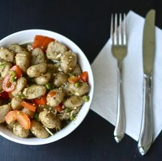 Whole Wheat Gnocchi with Pesto and Veggies