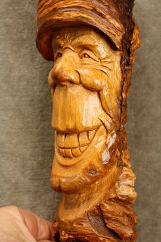 Wood Spirit Carving Art Ooak Birthday Gift by TreeWizWoodCarvings