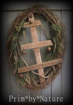 Primitive Christmas Wreath Vintage Wooden Tree with Rusty Bells Folk Art. Listing on eBay 10/25/2015, Please visit me @ primbynature.com