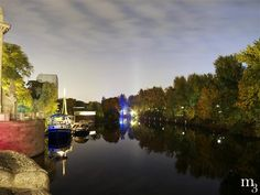 The Landwehr Canal in Berlin by night.