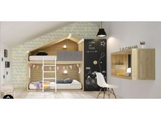 Chambre enfant Cottage nordico avec lits superposés cabane - LAGRAMA