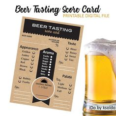 Planning a BEER TASTING for an upcoming party or event? Download this file and print one score card per person per beer. Easy to use and score.  POPULAR TASTING THEMES: Winter/Christmas Beers and Ales - Oktoberfest Beers - Seasonal Beers - Chocolate & Lambic Beers for Valentines Day - Local Craft Beers - Homemade Brews - Vertical Tastings (By Style, Region, or Brewer) - Horizontal Tasting (Multiple Styles Tasted Light to Heavier)   ******************************  Whats included:  An ...
