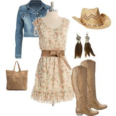 Country Girl, created by cmorishita on Polyvore. Except I probably wouldn't go for those earrings or hat. Love the dress and boots though.