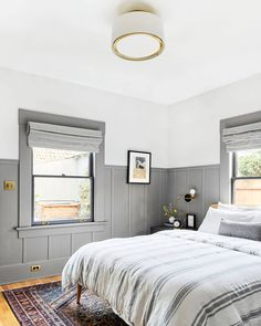 96 small master bedroom decor ideas for sweet and romantic couples 89 - All About Decoration Small Master Bedroom, Gray Bedroom, Bedroom Wall, Bedroom Decor, Wainscoting Bedroom, Modern Bedroom, Wall Decor, Style At Home, Interior Exterior