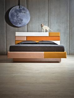 """LIZ Do you remember that """"Cat on a Hot Tin Roof""""? MERMELADA ESTUDIO, have created this bed that allows you to sleep under an Upholstered Roof. Its blocks and slope are a clear wink, and its name, a tribute. Produced by MermeladaEditions"""