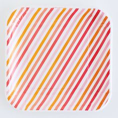 Sorbet Stripe Square Dessert Plates