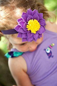 Love it-Purple Felt Dahlia Flower with Yellow Center by lilibirdbowtique, $13.99