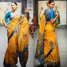 Another beauty from @jayanthiballal 's collection a blue and yellow traditional…