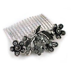 Metal Silver Plated Rhinestone Flower Leaf by MaahRoseJewellery