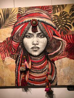 Travail à 4 mains par Stéphanie LEDOUX et Maud VILLARET pour l'expo à l'Espace BEAUREPAIRE Music Drawings, Art Drawings, African Art Paintings, Black Artwork, Abstract Canvas Art, Foto Art, African American Art, Sacred Art, Tribal Art
