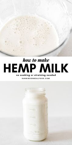 Use this easy homemade hemp milk recipe to make delicious, creamy, vegan and dairy-free milk in your blender using just hemp seeds and water. Nut Milk Recipe, Milk Recipes, Dairy Free Recipes, Whole Food Recipes, Vegan Recipes, Alkaline Recipes, Gluten Free, Vitamix Recipes, Other Recipes