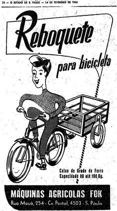 Propaganda de reboquete para bicicletas apresentado em 1954.