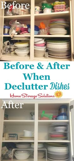 Before and after when decluttered dishes cabinet as part of the #Declutter365 missions on Home Storage Solutions 101