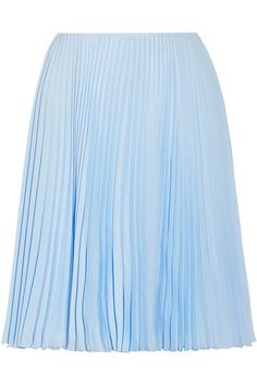 Light-blue plissé crepe de chine Concealed hook and zip fastening at side 100% polyester Dry clean Made in Italy