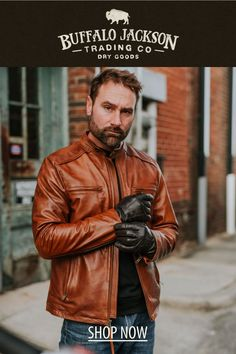 This men's vintage style tan leather jacket gives any outfit a classic rugged aesthetic. Keep it classy and casual — the more you wear this moto / racer jacket, the better it looks and feels. Tan Leather Jackets, Men's Leather Jacket, Vintage Men, Vintage Fashion, Keep It Classy, Brown Leather, Casual, How To Wear, Classy Men