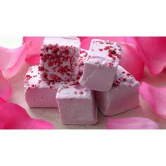 Rose Marshmallows: Delicately flavoured with essential rose oil and sprinkled with crystallized rose petals, these marshmallows are subtle, delicious and pretty.