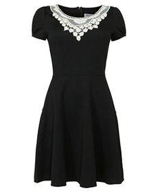 Black (Black) She & Her Black Lace Collar Skater Dress | 269639401 | New Look