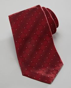 Armani Collezioni Dotted Square Silk Tie, Red - Neiman Marcus