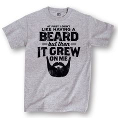 Beard Grew on Me - Adult Short Sleeve Tee, Size: XXL, Grey