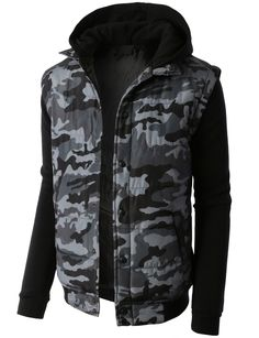 4a314787c07 LE3NO PREMIUM Mens Varsity Hooded Puffer Jacket with Fleece Sleeves Puffer  Jackets, Winter Jackets,