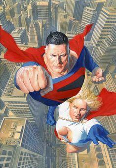 DC Comics Superman Power Girl Alex Ross Kingdom Come Superman Comic, Mundo Superman, Comic Book Artists, Comic Artist, Comic Books Art, Univers Dc, Arte Dc Comics, Mundo Comic, Comic Kunst