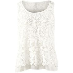 Bobbin Lace Top CAbi ❤ liked on Polyvore featuring tops, shirts, tank tops, tanks, blusas, white shirt, white lace tank, lace shirt, cabi shirt and white singlet