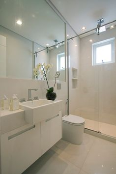 this kind of bathroom would work in our space, change the vanity though ick