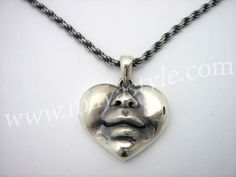 OK AWWWWWWE!!! ......925 Sterling Silver Happy Heart Face Pendant Bird by MAVAStyle, $299.99