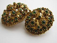 Vintage Florenza Emerald Green Rhinestone by ToadSuckTreasures, $35.00