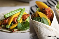 Wrap med varmrøkt laks, salat, stangeselleri, mango og avocado