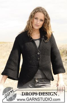 "DROPS jacket in garter st with curved front pieces in 2 threads ""Alpaca. Size S - XXXL. ~ DROPS Design"