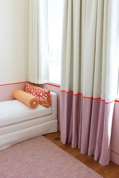 Love the matching of the ribbon trim on the drapes to the paint on the walls! |