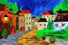 "PROVENCE VILLAGE Original oil painting France cityscape French 24x36"" MALORCKA  #Impressionism"