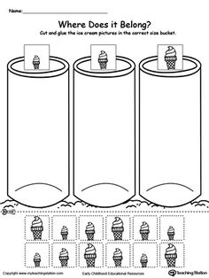 **FREE** Sort by Size: Ice Cream Worksheet. Sort the ice cream by size and place them in the small, medium or large bucket in this sorting printable worksheet.