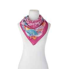 Echo Design Echo Shell Yeah Small Square Cotton Scarf - Hibiscus/Pink