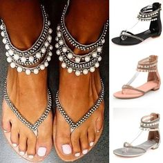 b68980a51fadc Women s New Boho Beading Rhinestone Sandals - So Cute - Free Shipping.  Rhinestone SandalsPearl SandalsShoes ...