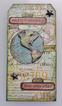 Enjoy the Journey Tag Atc Cards, Card Tags, Gift Tags, Paper Shaper, Paper Art, Paper Crafts, Travel Tags, Project Life Cards, Memory Books