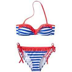 Xhilaration Junior's 2-Piece Swimsuit -Stripe Print ($18) ❤ liked on Polyvore featuring swimwear
