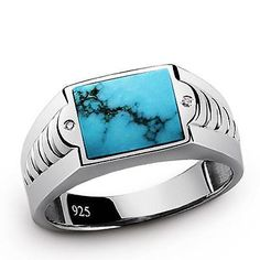 Men's Ring NATURAL TURQUOISE and DIAMOND Solid 925 Silver Blue Gemstone Ring