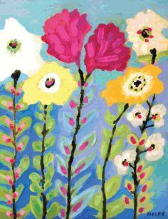 Garden Painting, Garden Art, Painting & Drawing, Garden Mural, Illustration Blume, Diy Art Projects, Guache, Bohemian Art, Arte Floral