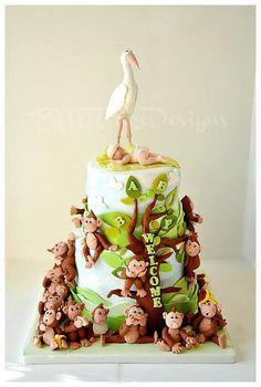 21 little Monkey Birthday Cake ♡