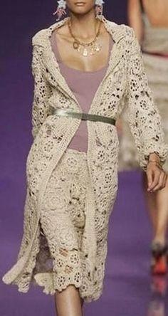 Col Crochet, Crochet Coat, Crochet Jacket, Crochet Clothes, The Dress, Dress Skirt, Crochet Wedding Dresses, Parisian Chic Style, Irish Lace